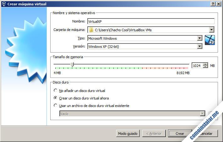 como virtualizar windows xp