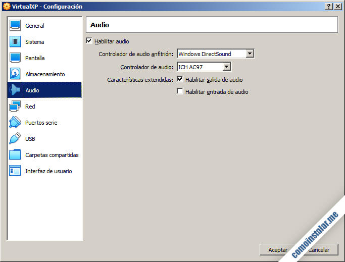 como configurar el audio de la maquina virtual