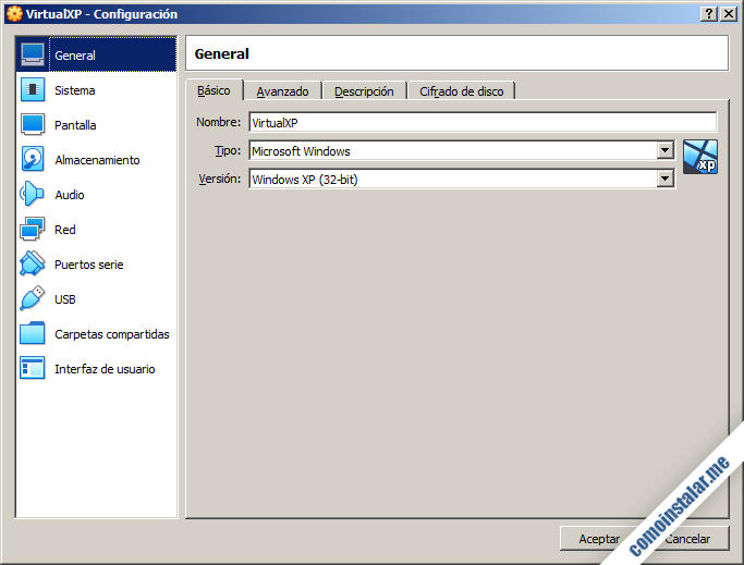 como configurar una maquina virtual en VirtualBox