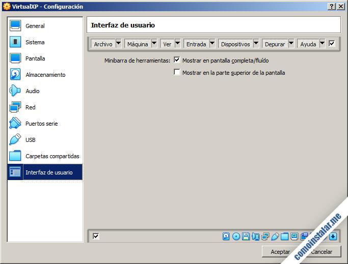 como configurar la interfaz de usuario de la maquina virtual