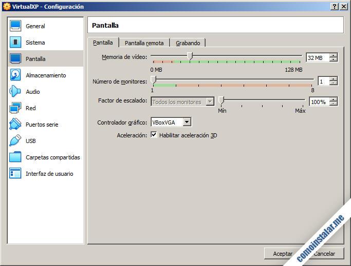 como configurar la pantalla de la maquina virtual