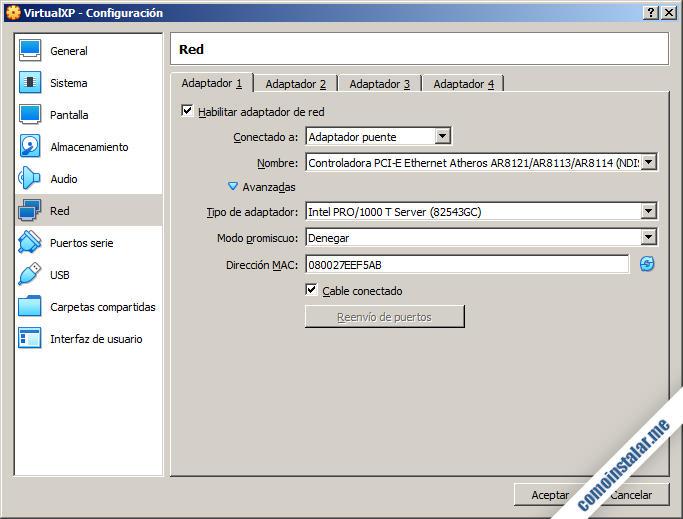 como configurar el adaptador de red de la maquina virtual