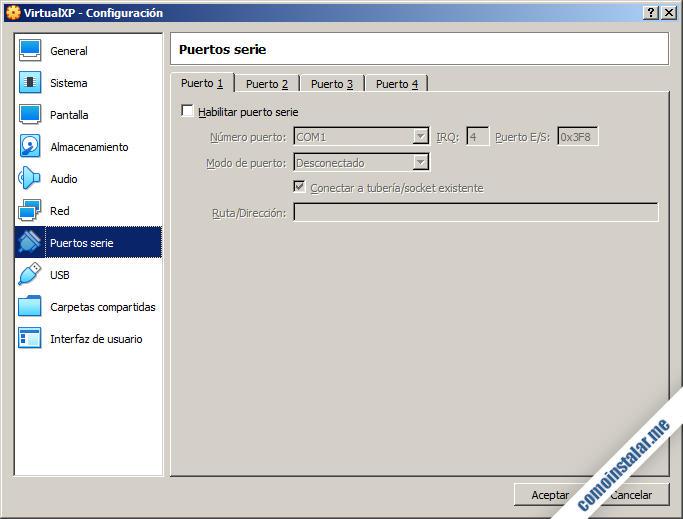 como configurar los puertos serie de la maquina virtual