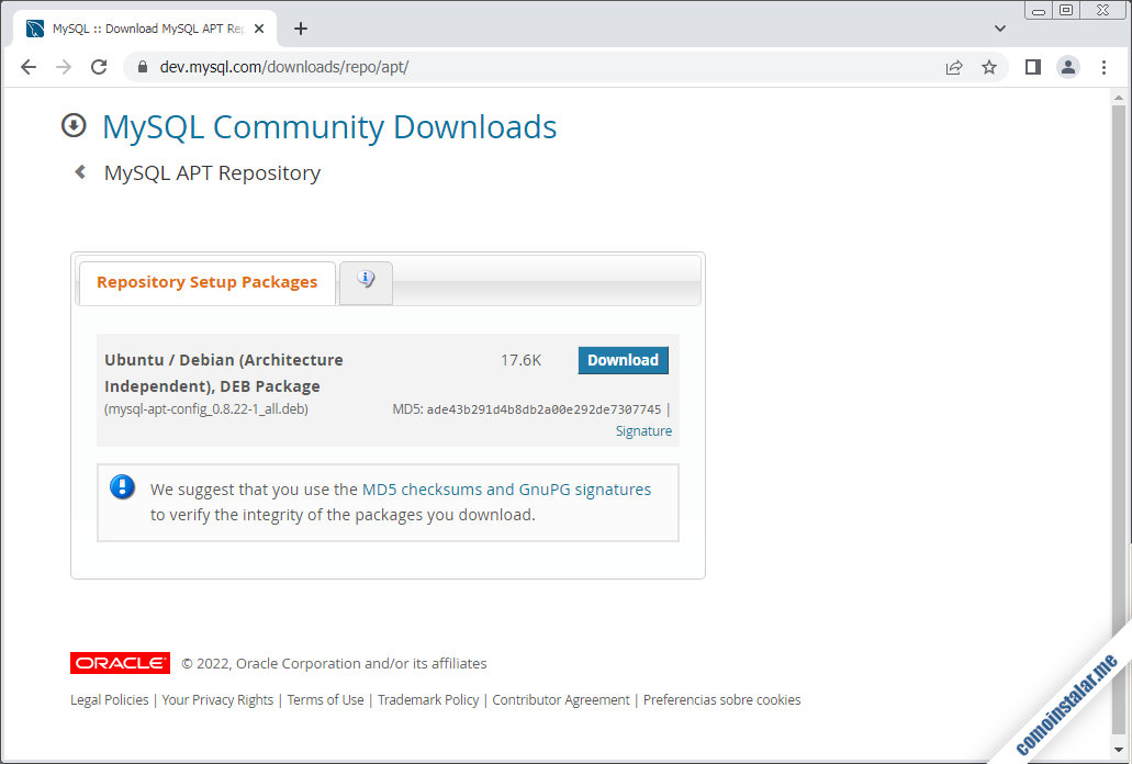 descargar mysql 8 en ubuntu 18.04 lts