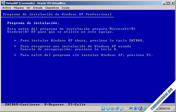 instalación del sistema operativo desde la unidad optica virtual