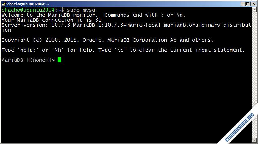 instalar mariadb en ubuntu 18.04 lts