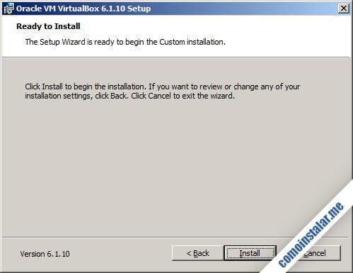 instalación de virtualbox en windows 7