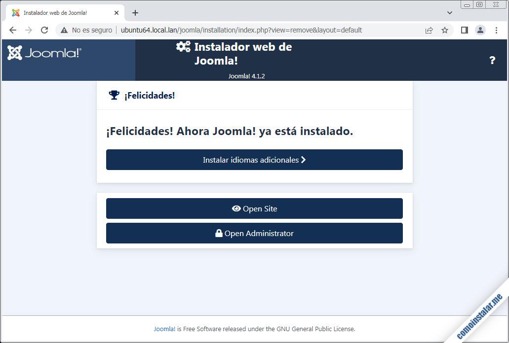 instalador de joomla en ubuntu 18.04