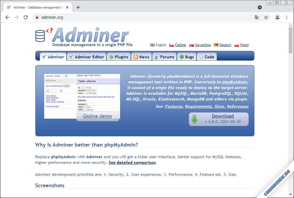 como descargar adminer para ubuntu 18.04 lts bionic beaver