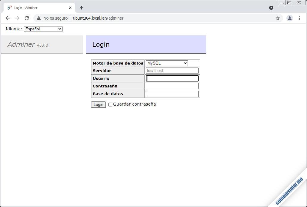 como instalar adminer en ubuntu 18.04 lts bionic beaver