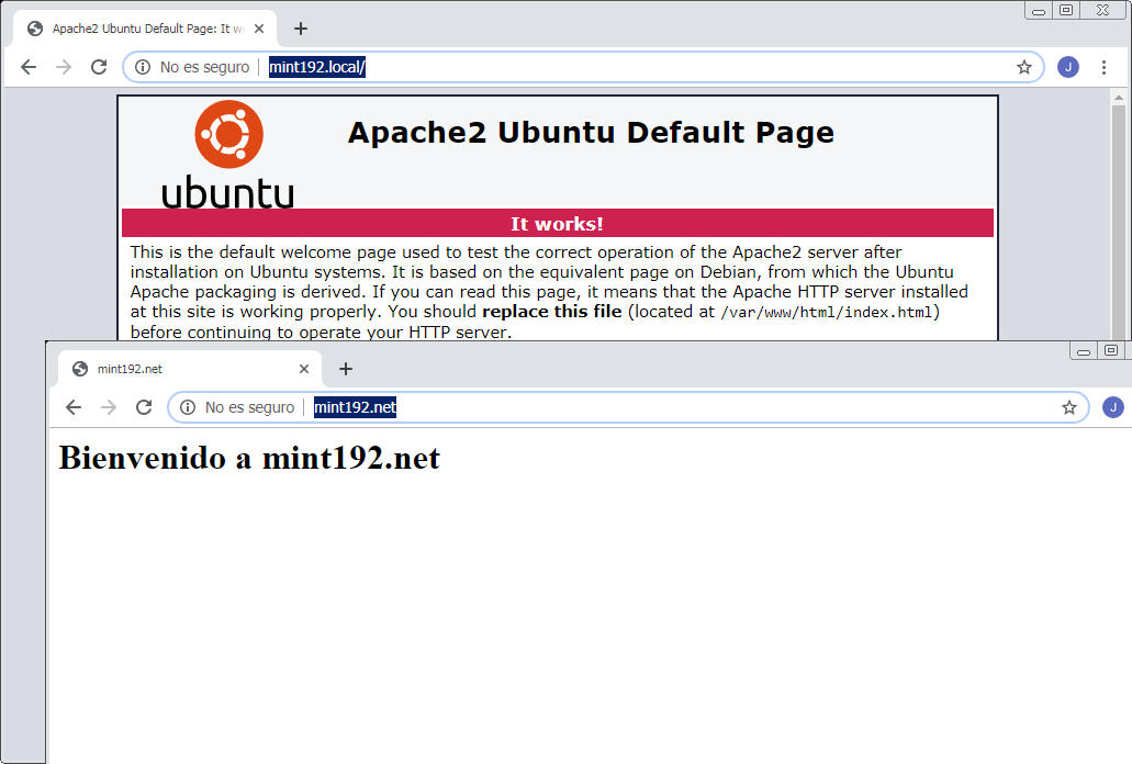 servidores virtuales de apache en linux mint 19.2 tina