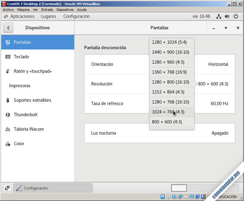 resolucion de pantalla de centos 7 en virtualbox