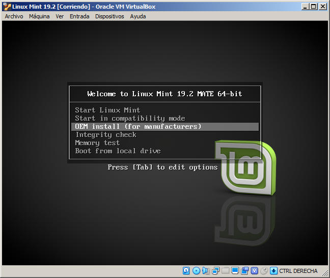 instalar linux mint 19.2 tina en virtualbox