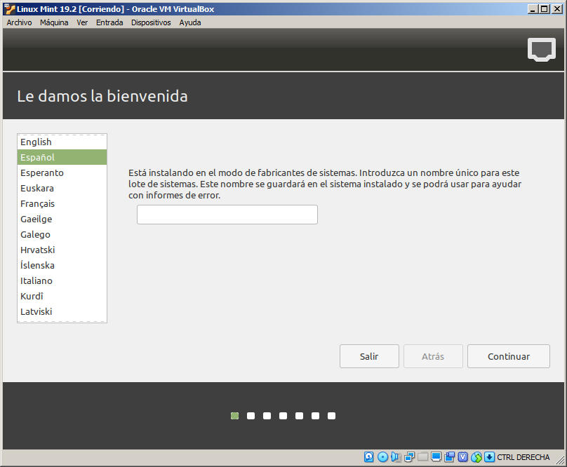 instalacion de linux mint 19.2 tina en virtualbox