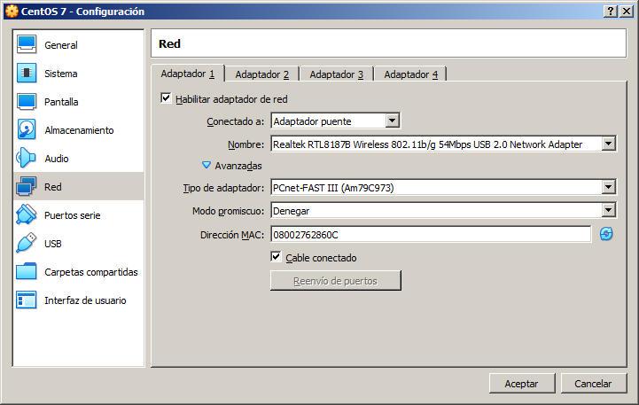 configuracion de red de virtualbox para centos 7