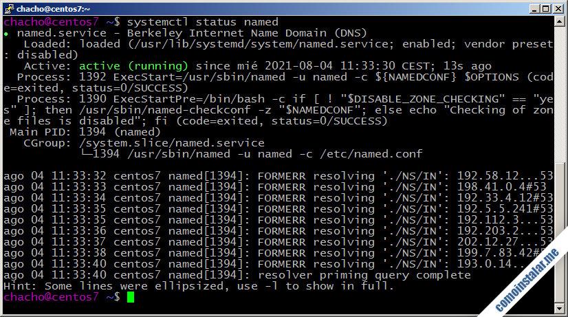 como instalar y configurar el servidor dns bind en centos 7