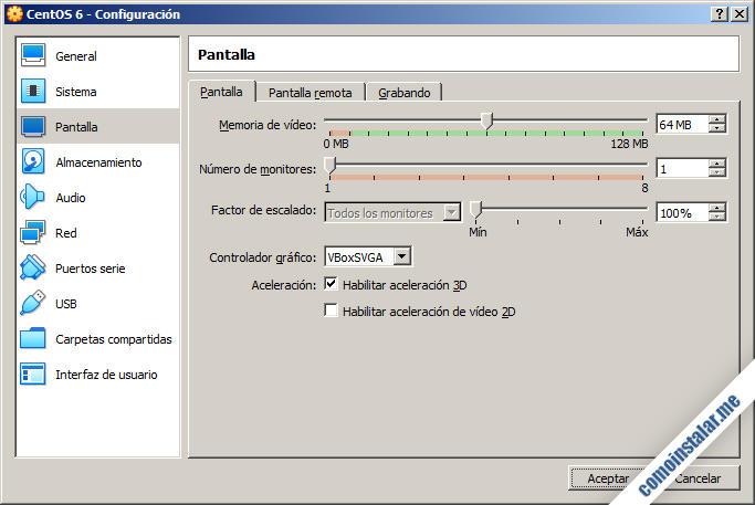configurar virtualbox para centos 6