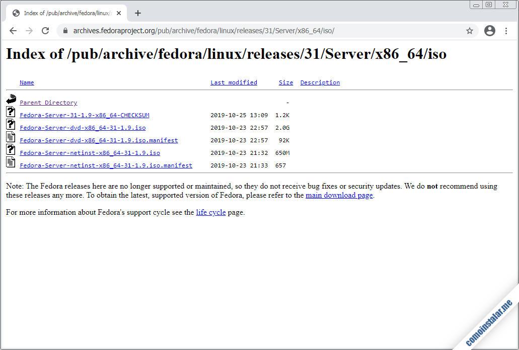 como descargar fedora 31 server para virtualbox