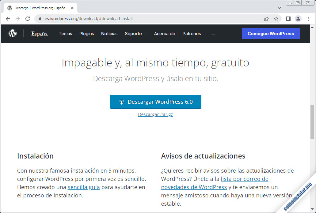 descargar wordpress para centos 8