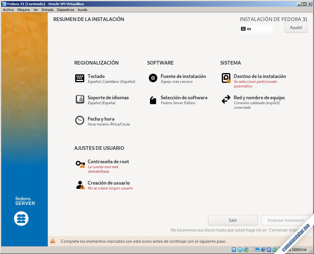 instalar fedora 31 en virtualbox