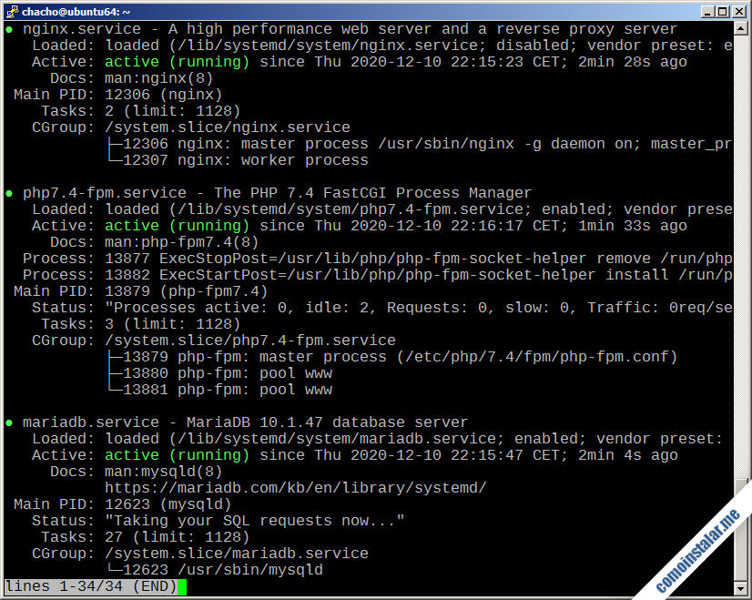 como instalar lemp en ubuntu 18.04 lts