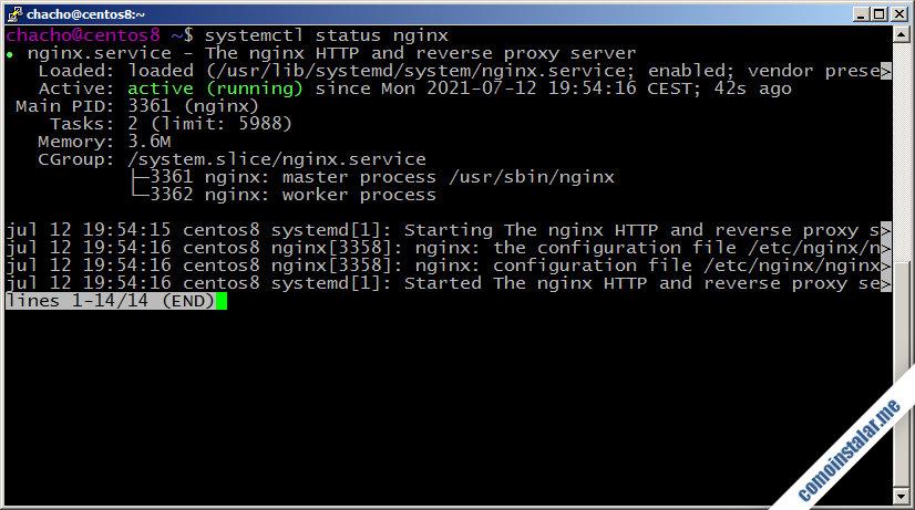 como instalar nginx en centos 8