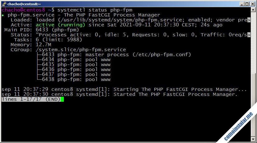 como instalar php en centos 8