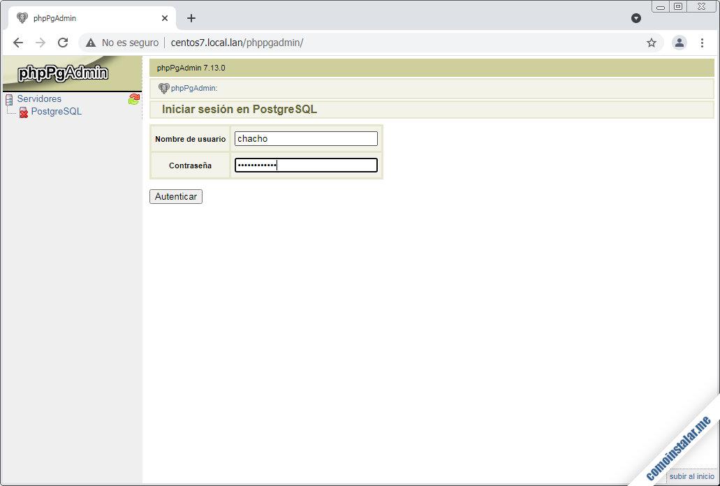 instalacion de phppgadmin en centos 7