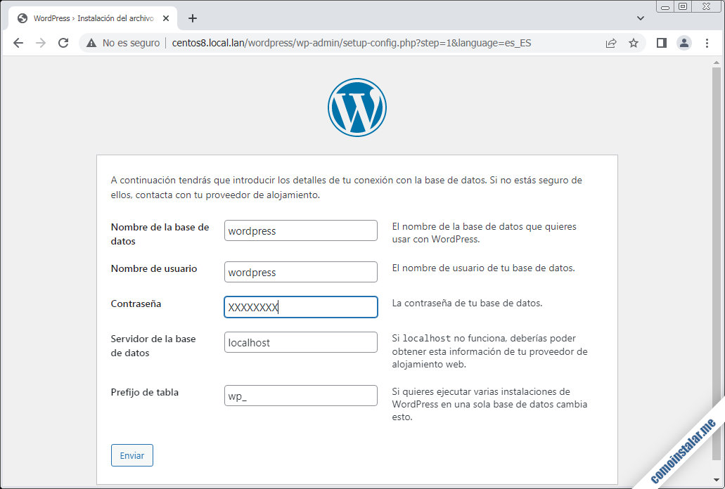 instalar wordpress en centos 8