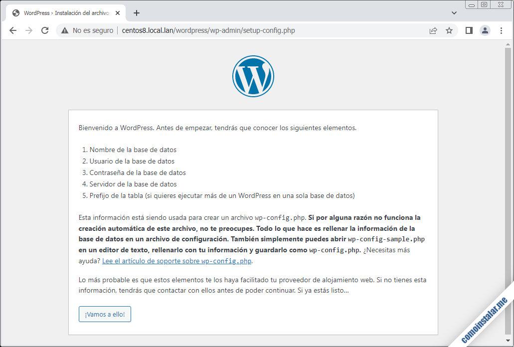 como instalar wordpress en centos 8