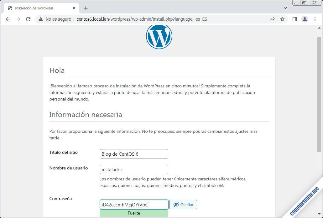 instalador de wordpress en centos 6
