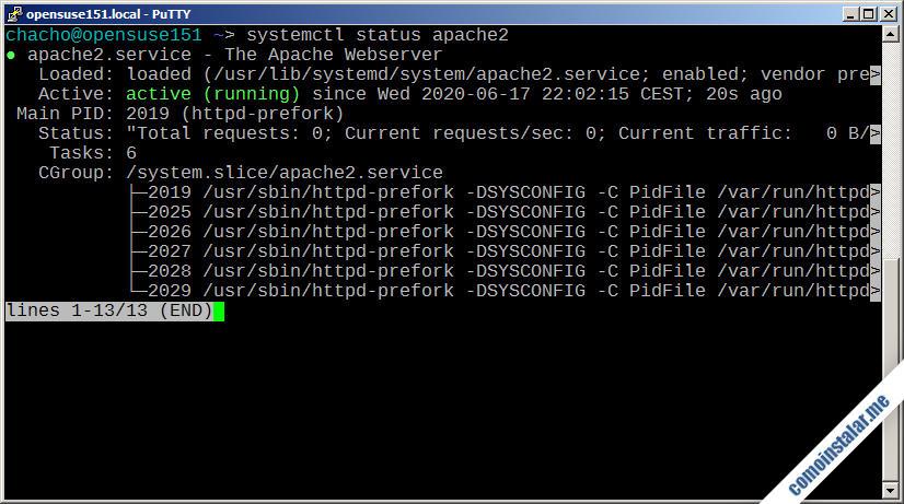 como instalar apache en opensuse leap 15.1