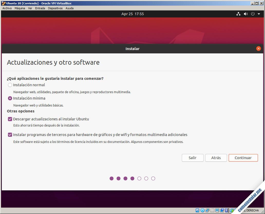 instalacion de ubuntu 20.04 en virtualbox