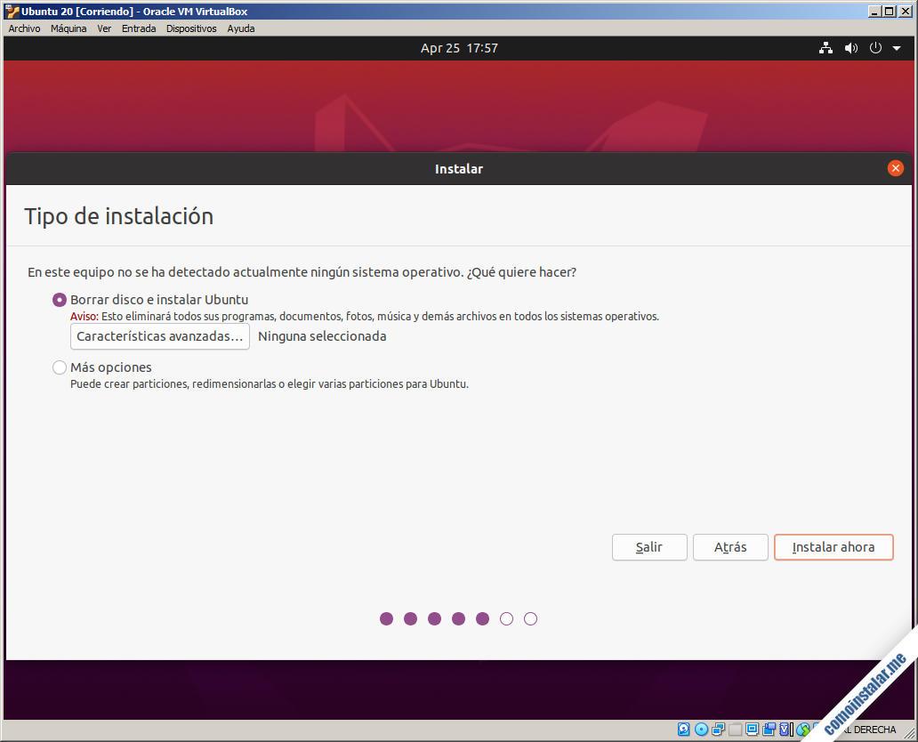 instalando ubuntu 20.04 focal fossa en virtualbox