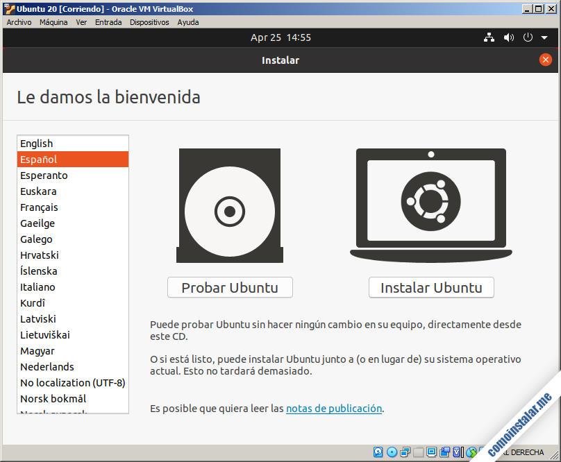como instalar ubuntu 20.04 focal fossa en virtualbox