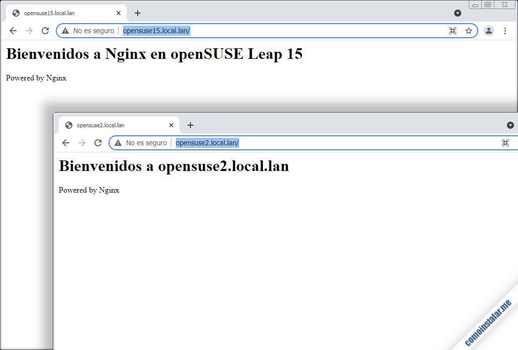 como configurar nginx en opensuse leap 15.1