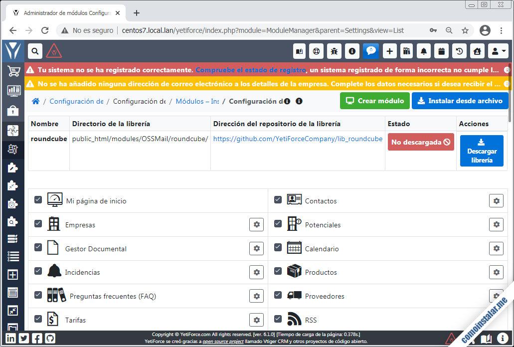 libreria roundcube para YetiForce en CentOS 7