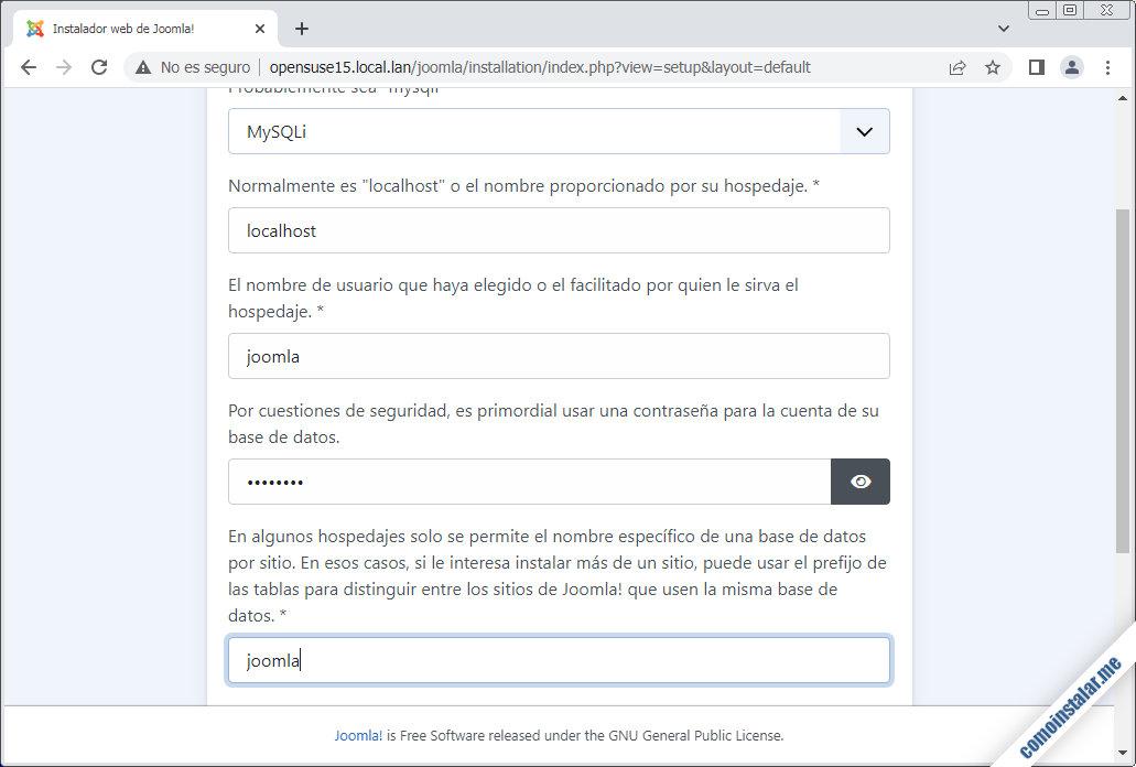 instalacion de joomla en opensuse leap 15.1 y 15.2