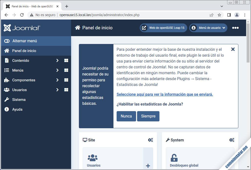 joomla en opensuse leap 15.1 y 15.2