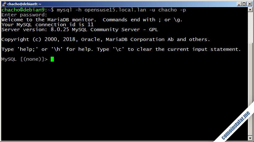 como instalar y configurar mysql server en opensuse leap 15
