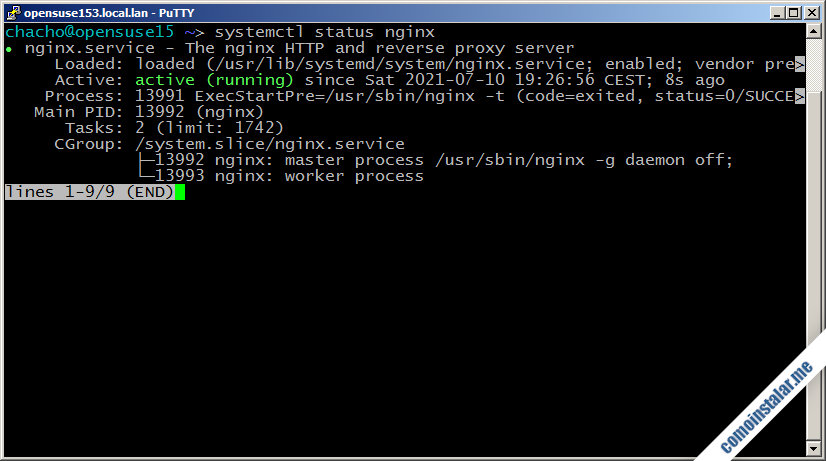 como instalar nginx en opensuse leap 15.1