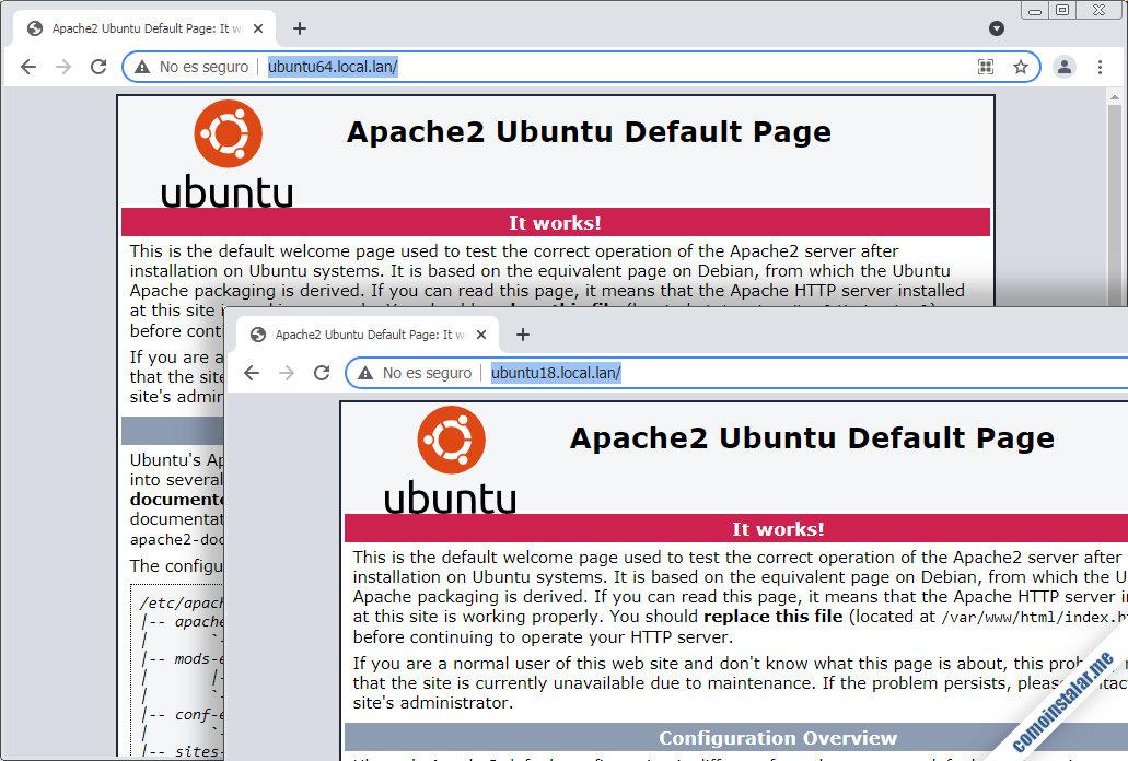 configurar servidores virtuales de apache en ubuntu 18.04