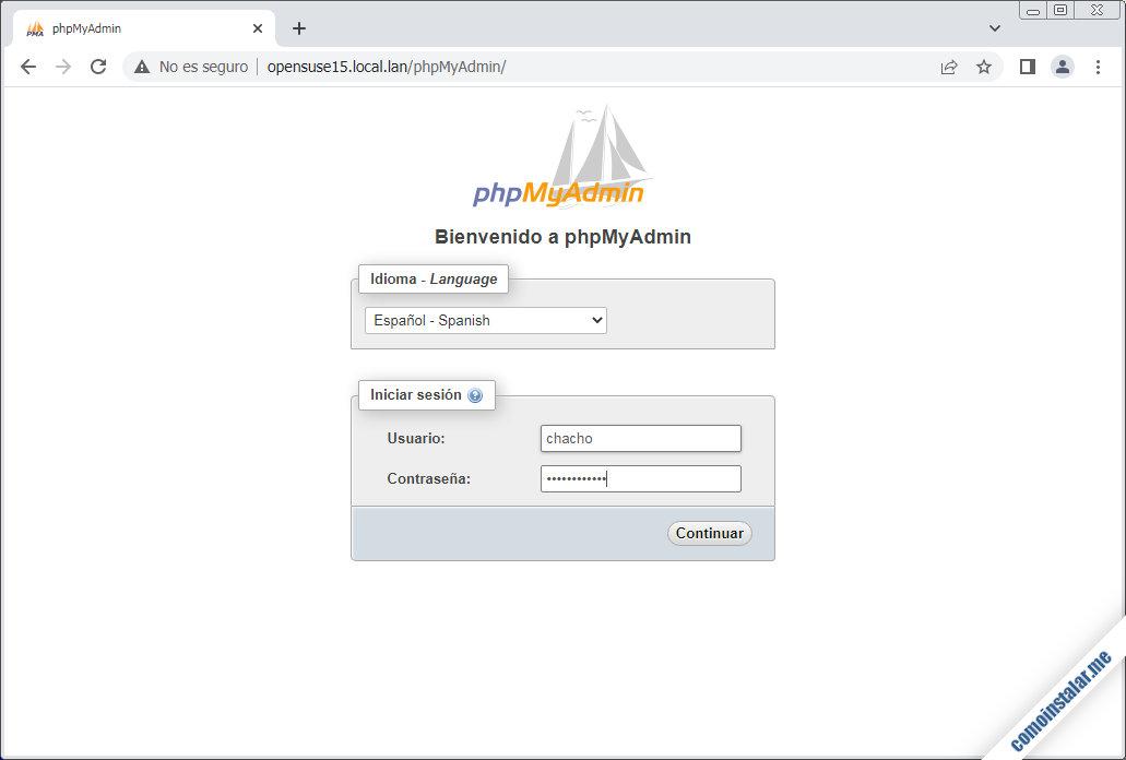 como instalar phpmyadmin en opensuse leap 15.1