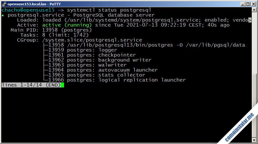 como instalar postgresql en opensuse leap 15.1
