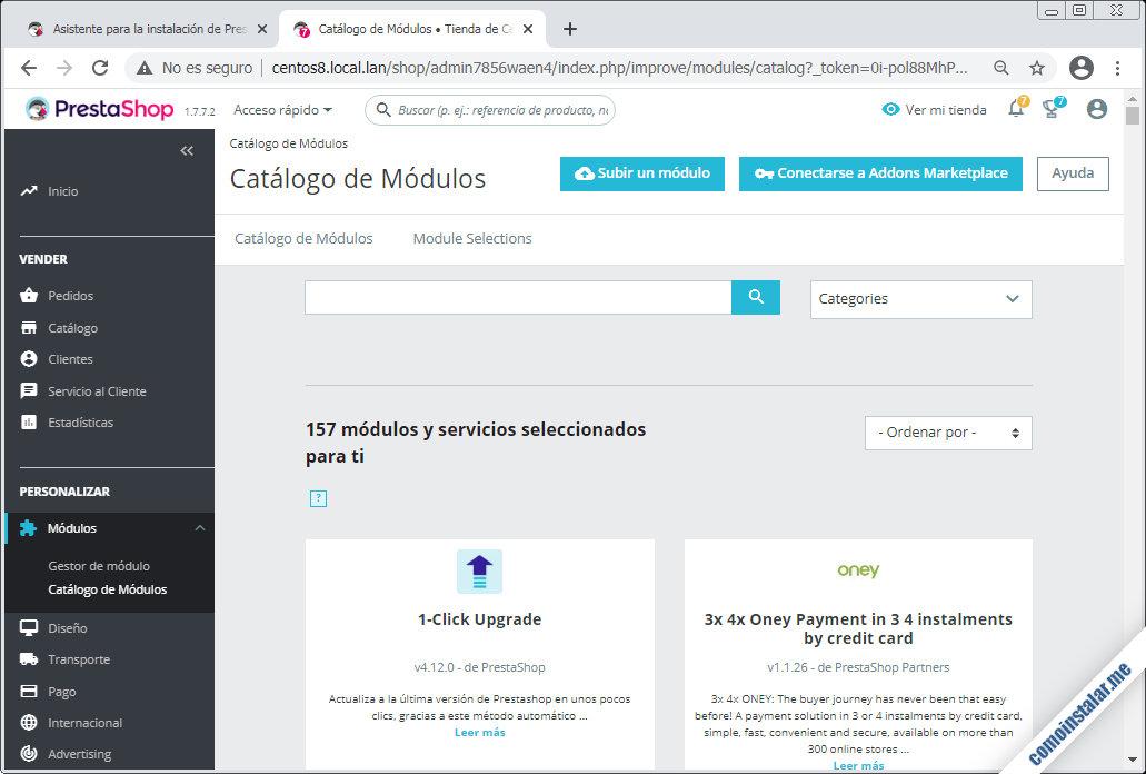 PrestaShop para CentOS 8