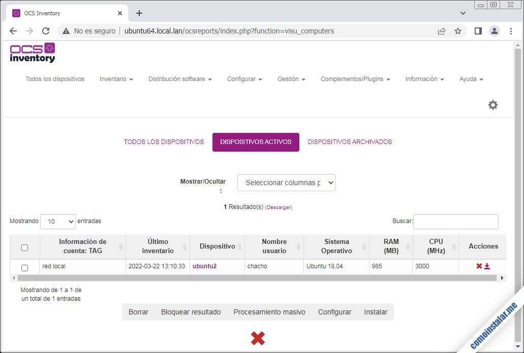 instalar ocsinventory agent en ubuntu 18.04 lts bionic beaver