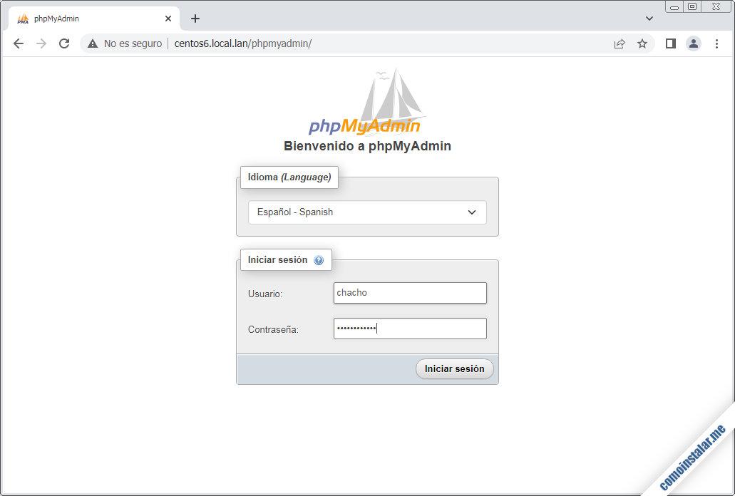 como instalar phpmyadmin en centos 6