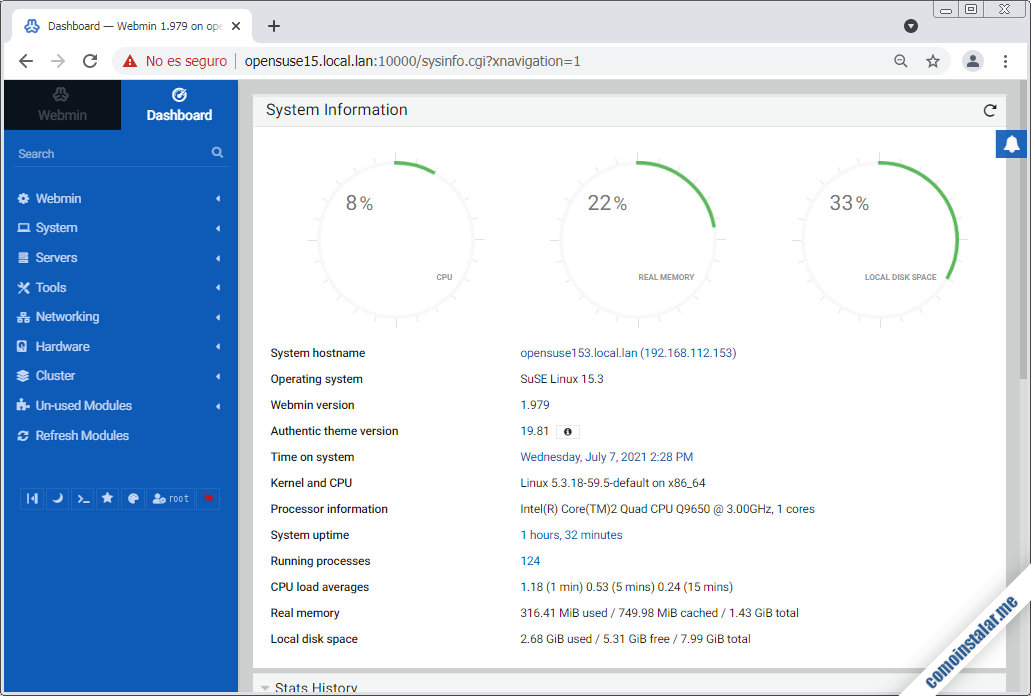 instalacion de webmin en opensuse leap 15.1