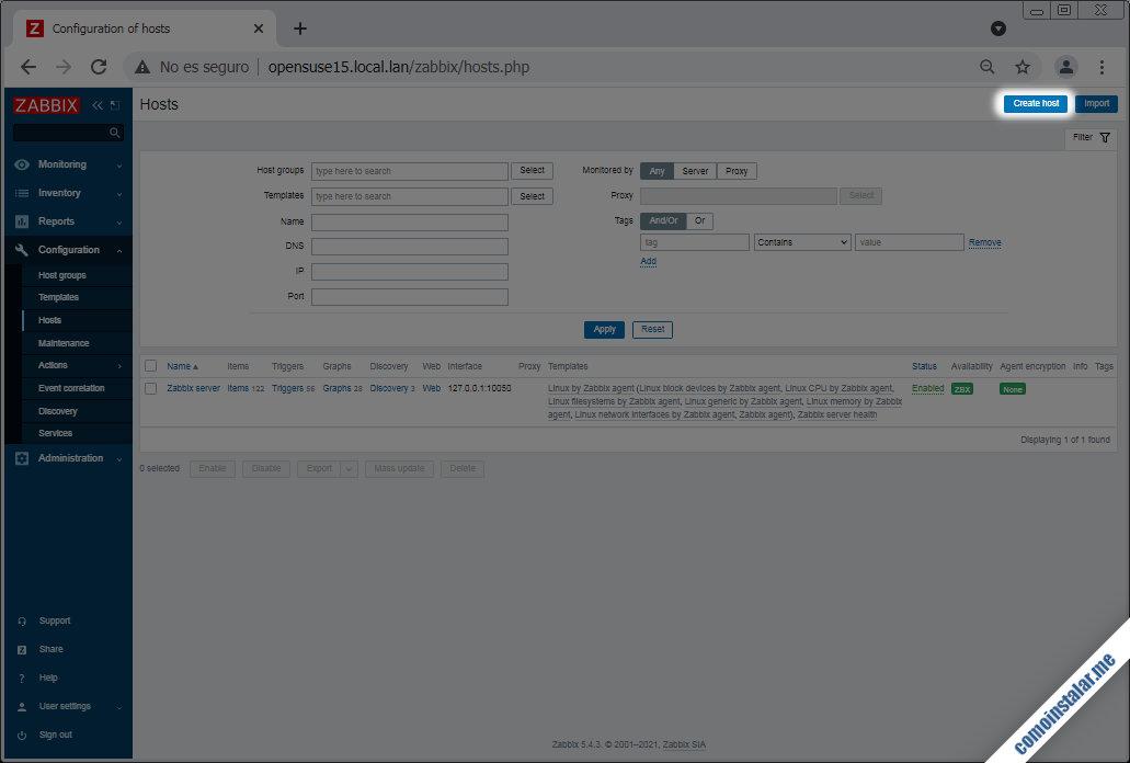 como configurar zabbix en opensuse leap 15.1