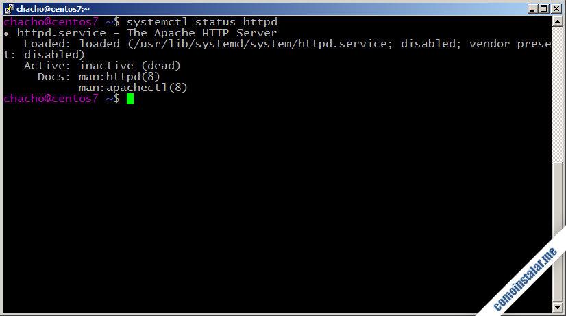 como instalar el servidor web apache en centos 7